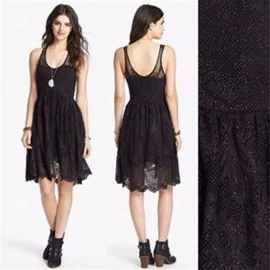 Free People Black Kristal Foil Print Dress
